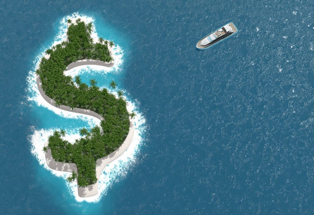 Island Cash Symbol Boat on Ocean