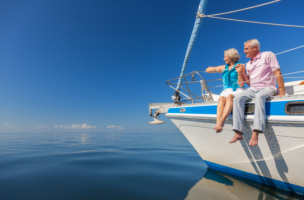 Senior Couple Yacht Ocean
