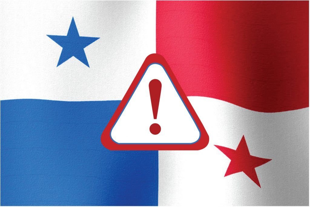 Safety Sign on a Panama Flag