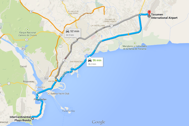 driving directions tocumen airport to casa bonita panama