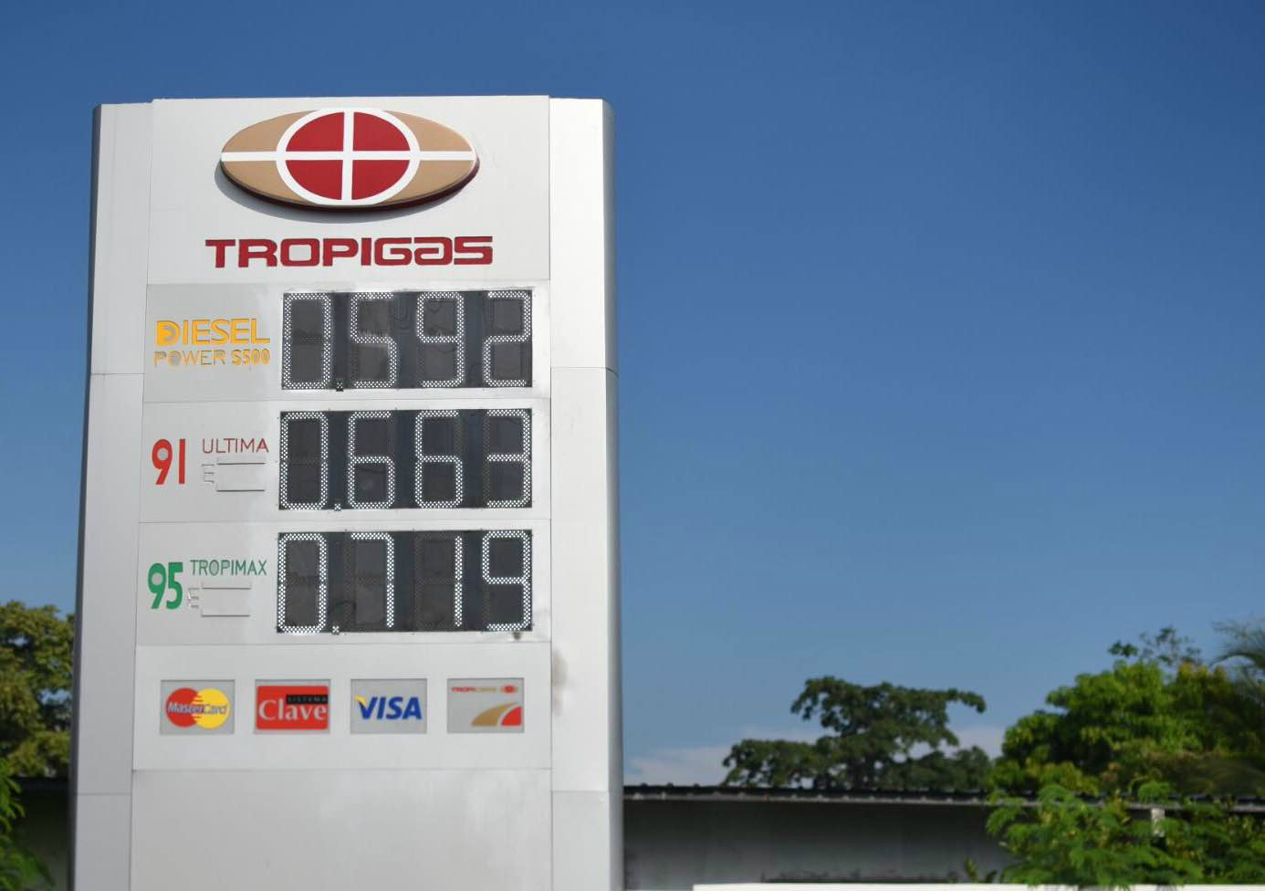 Tropigas Panama petrol board prices