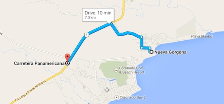 A mere 10 minute drive from the heart of Gorgona to the many shops and restaurants of Coronado.