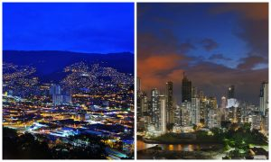 Medellin and Panama Skylines side by side
